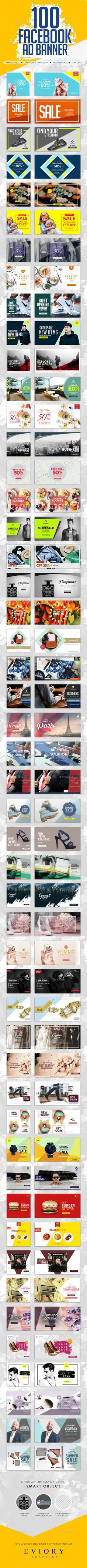 Facebook Ad Banners — Photoshop PSD #ecommerce #shop • Available here ➝ https://graphicriver.net/item/facebook-ad-banners/20632228?ref=pxcr