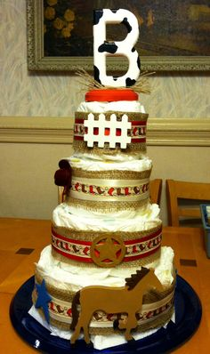 Diaper Cake - Western style for baby boy shower
