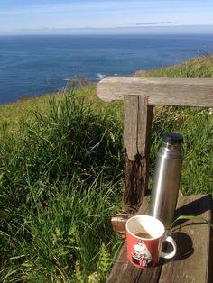 Coffee on the edge, Moomin mug at Kettleness