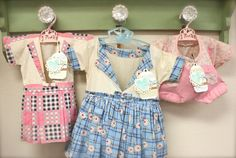 vintage clothespin dresses in my craft room