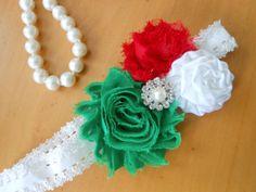 Christmas Baby HeadbandShabby Chic Christmas Red by TheRuffledbum, $7.95