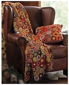 Hexagon Throw and Pillow -- looking so nice on that leather arm chair!