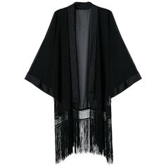 LUCLUC Black Long Sleeve Chiffon Kimono With Tassels (€14) ❤ liked on Polyvore featuring intimates, robes, lucluc, kimono, cardigans, tassel kimono, black robe, chiffon kimono, black chiffon kimono en kimono robe