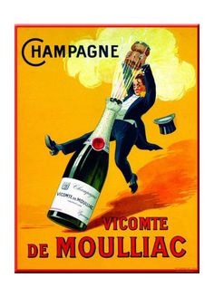 "GreatBigCanvas ""Champagne Vicomte De Moulliac"" by Art Licensing Canvas Wall Art – The Home Depot 'Champagne Vicomte De Moulliac' by Art Licensing Canvas Wall Art, Multi-Color Vintage Champagne, Vintage Wine, Vintage Labels, Vintage Ads, Vintage Food, French Vintage, French Wine, Vintage Graphic, French Art"