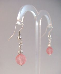 'Romance': Watermelon Tourmaline and Silver Plated Filigree Bead Earrings - £5.50 at http://jewellerybyrebecca.co.uk/crm003
