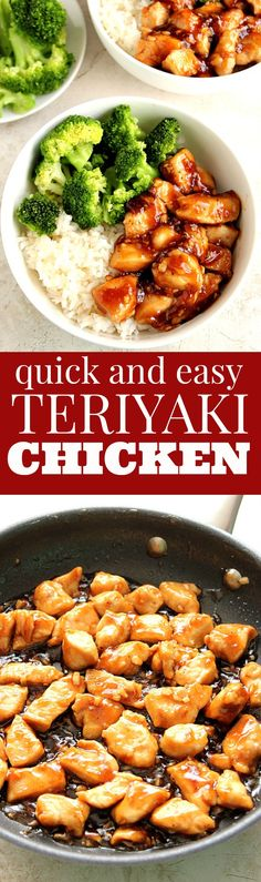 Quick Teriyaki Chicken Rice Bowls recipe - better than takeout and made with just a few ingredients this Asian chicken dinner idea is on our weekly rotation! Sweet garlicky chicken served with rice and steamed broccoli comes together in just 20 minutes.