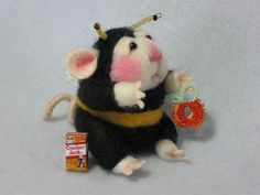 felt, mouse dressed as a bee