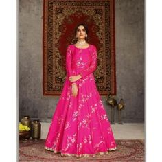 Buy Gowns - Discover the wide range of designer gowns online Party Wear Gowns Online, Printed Gowns, Floor Length Gown, Pink Gowns, Designer Gowns, Silk Crepe, Lehenga Choli, Pink Color, How To Wear