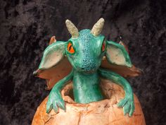 Dragon hatchling pottery.  15cm high.  See The Cunning Rat, FB..