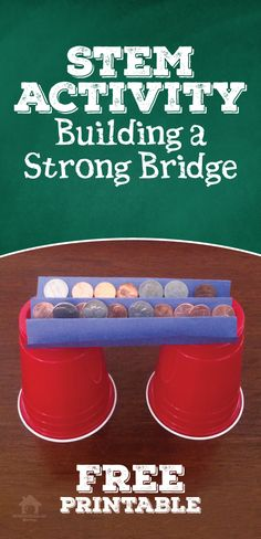 Building a Strong Bridge STEM activity for National Engineering Week. FREE Printable is available at this link provides directions, an explanation of what is happening, and ideas for taking the activity further. All you need are a few household items! http://homeschool-101.com/stem-activity-build-strong-bridges/
