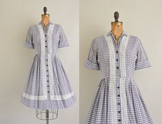 50s Mode O Day dress / 1950s gingham and lace dress / 1950s full skirt cotton dress