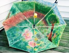 I worked on the inside of this umbrella years ago with pastels for an art class.  I threw it away years ago because the umbrella was cracked and not able to be repaired.  I still thought I'd put this out there.