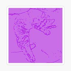 Süße gezeichnete Katze in lila auf einem Sticker. Flower Prints, Spring Flowers, Framed Art Prints, Sticker, Designs, Lilac, Art Production, Gifts, Floral Patterns