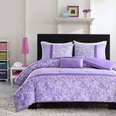 Features:  -Includes: Comforter, standard sham (2 shams for Full/Queen size), and decorative pillow.  -Riley collection.  -Color: Purple.  -Do not bleach.  -Pillow: Polyester cover and fill.  -Comfort
