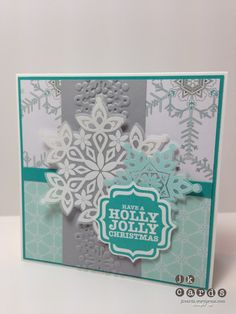 Stampin' Up!, Mojo 317, Festive Flurry, Tags 4 You, Festive Flurry Framelits, Delicate Details Embossing Folder, Label Bracket Punch, Winterfrost DSP Stack, White STampin' Emboss Powder, Pool Party Stampin' Emboss Powder, Vellum Card Stock
