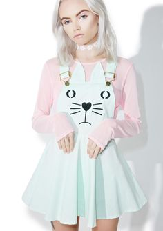 Mint Chip Kitten Overall Dress is too sugary sweet to resist, bb~ This mega cute overall dress features a minty green construction, flirty flared skirt, clip straps, kitty face 'N ear details on the chest panel, and side zip closure.
