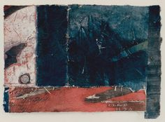 D-18.Mar.1988  19.5x27cm  mono type print by wood cut, collage, painting  林孝彦 HAYASHI Takahiko 1988  #mixed_media #collage