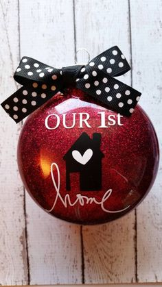 Our First Home Ornament - First Home - New Home - Christmas Ornament - Housewarming Gift - 1st House - Personalized Ornament by weloveaparty on Etsy https://www.etsy.com/listing/248654083/our-first-home-ornament-first-home-new