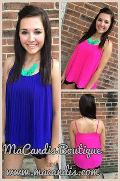 Fun new tops!! In navy blue and hot pink!! TRENDY for SUMMER!! www.macandis.com
