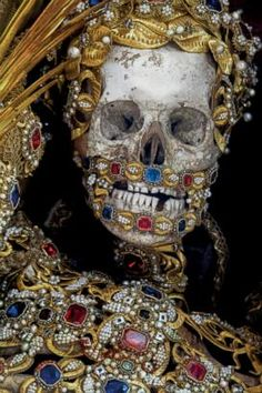"""Heavenly Bodies,"" reveals ancient jewel-encrusted skeletons found and photographed across Europe by historian Paul Koudounaris"