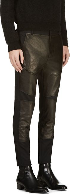 3.1 Phillip Lim - Black Lambskin Panel Biker Trousers | SSENSE
