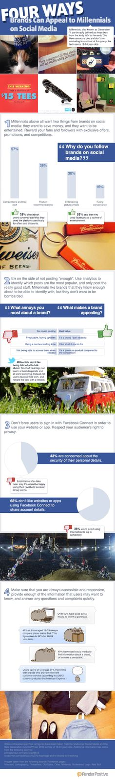 Four ways brands can appeal to millennials on Social Media - #SocialMedia #Infographic