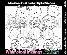 Wee Ones First Easter Digital Stamps, Black and White Image, Commercial Use, Instant Download, Line Art, Toddler, Baby, Easter Egg Hunt by ResellerClipArt on Etsy White Image, Egg Hunt, Digital Stamps, The One, Line Art, Easter Eggs, Whimsical, Commercial, Snoopy