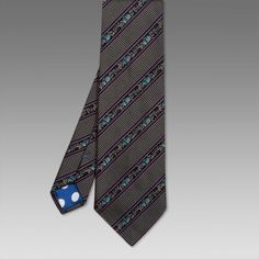 Paul Smith Ties - Classic Violet Stripe Floral Tie
