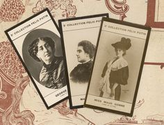 Femmes de lettre / womens writing, 3 french photos of George Sand, Mathilde Serao, Maud Gonne from a Felix Potin ad photo collection
