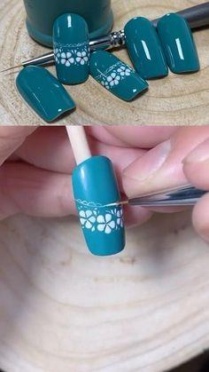 Simple Nail Art Videos, Nail Art Designs Videos, Nail Art Hacks, Nail Art Diy, Acrylic Nail Designs, Acrylic Nails, Pink Gel Nails, Nail Drawing, Sunflower Nails