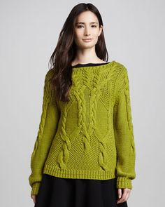 Halston Heritage Chunky Cable-Knit Sweater, Apple Green - Neiman Marcus