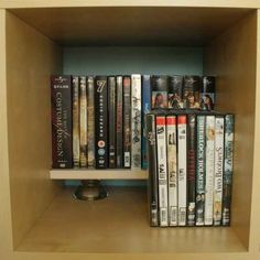 Use shelf risers so you can keep two nice, neat tiers in any cubby-sized hole. | 52 Meticulous Organizing Tips For The OCD Person In You