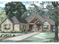 Ranch Home Plan with 2879 Square Feet and 3 Bedrooms from Dream Home Source | House Plan Code DHSW077377
