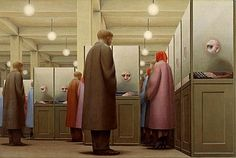 Government Bureau, 1956 George Tooker (American, born Egg tempera on wood; x cm) The Metropolitan Museum of Art, New York George A. Alex Colville, Canadian Painters, Canadian Artists, George Tooker, Paul Cadmus, Social Realism, Vladimir Nabokov, Magic Realism, Portraits