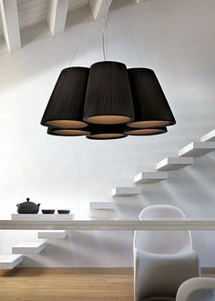 Florinda is a hanging and ceiling lamp comprising multiple hand pleated lamp shades of a classical truncated cone shape. It is a contemporary and informal lamp, which fits very well in restaurants and public areas, as well as home. It is avaliable in colours white, beige, red, brown and black. The lamp is made by Modo Luce.