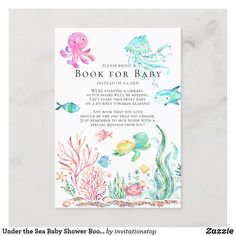 Under the Sea Baby Shower Book for Baby Card Baby Shower Cards, Baby Cards, Baby Shower Invitations, Baby Shower Gifts, Baby Gifts, Party Invitations, Shower Party, Baby Shower Parties, Baby Shower Themes