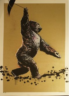 """""""Sideshow Ape"""" by Canvaz. 70 x 50cm Screenprint, hand-finished. Ed of 22 S/N."""