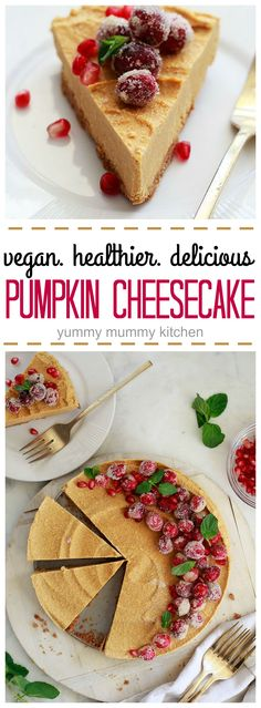 This healthy pumpkin cheesecake is so creamy and delicious! It's easier to make and is vegan and paleo friendly. Perfect for Thanksgiving or any day.