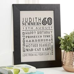 60th Birthday Gift For Her Of Personalised Age Print Warm Grey Colour Option