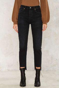 Citizens of Humanity Liya Hi-Lo Hem Jeans - Black - Clothes | Denim | Skinny