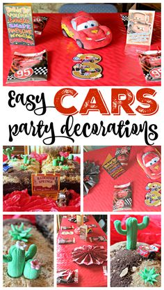 My 3 year old wanted a Disney CARS birthday party this year, so I worked up some easy party decorations and the BEST homemade cake design! 3 Year Old Birthday Party Boy, Cars Birthday Parties, 3rd Birthday, Birthday Ideas, Lincoln Birthday, Birthday Party Decorations Diy, Diy Party, Party Ideas, Disney Cars Birthday