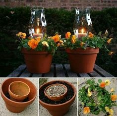 DIY terracotta pots, live flowers, and votive candles makes a lovely center piece.
