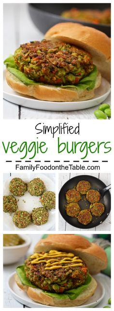 3 frozen vegetables plus seasonings are all you need to make these tasty veggie burgers! | FamilyFoodontheTable.com