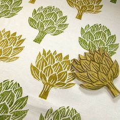 painted fabric using linoleum cut. Do this with curtains in huge leaf pattern! would layer with sheers and bamboo shades