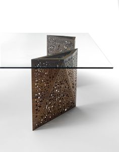 Buy online Riddled table² By casamania & horm, rectangular table with light design Steven Holl, riddled Collection Metal Furniture, Table Furniture, Modern Furniture, Furniture Design, Wood Table Design, Coffee Table Design, Coffe Table, A Table, Dining Sofa