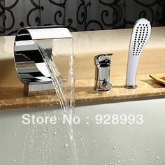 uku® Deck Mount Contemporary Waterfall Tub Faucet with Hand Shower Chrome Finish Widespread Bathtub Mixer Taps Bath Shower Faucets Lavatory Plumbing Fixtures with Pull Out Handheld Shower Head Bathroom Sink Taps, Modern Bathroom Sink, Roman Tub Faucets, Taps Bath, Bathroom Fixtures, Bathroom Ideas, Modern Sink, Master Bathrooms, Bathroom Mirrors