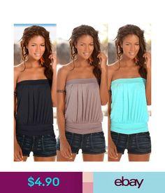848a70282a Tops Summer Women s Plain Strapless Bandeau Boob Tube Tops Tank Vest Blouse  T !  ebay