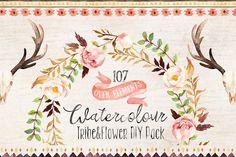 Love these boho floral designs! Watercolour Tribe&Flower DIY+Bonus by Graphic Box on https://crmrkt.com/PB9mj #ad