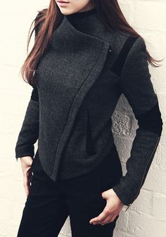 Zipper-Lapel Blazer - Zipper Sleeves Blazer