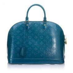 Louis Vuitton Alma MM Handbag ($295) ❤ liked on Polyvore featuring bags, handbags, louis vuitton, purses, borse, blue handbags, monogram handbags, leather purse, monogrammed leather handbags and louis vuitton bags